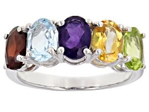 Multi-gem sterling silver 5-stone ring 3.98ctw.