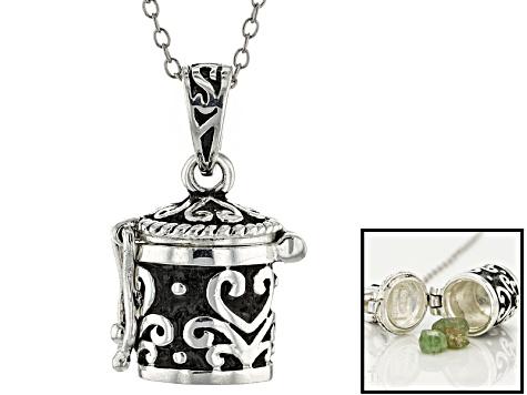 Green demantoid rough in silver prayer box pendant with chain 127 green demantoid rough in silver prayer box pendant with chain 127ctw aloadofball Gallery