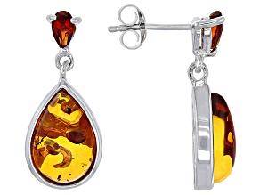 Orange Polish Amber Sterling Silver Dangle Earrings .37ctw.
