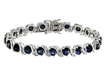 Picture of Blue Star Sapphire Rhodium Over Sterling Silver Bracelet 16.69ctw.