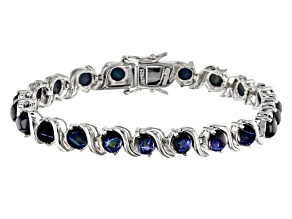 Blue Star Sapphire Rhodium Over Sterling Silver Bracelet 16.69ctw.