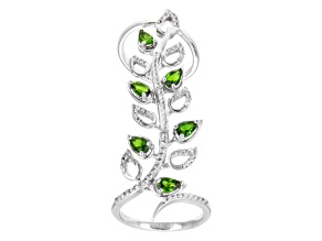 Green Russian Chrome Diopside And White Topaz Sterling Silver Floral Ring 2.15ctw.