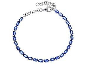 Blue Nepal Kyanite Sterling Silver Tennis Bracelet 5.87ctw.