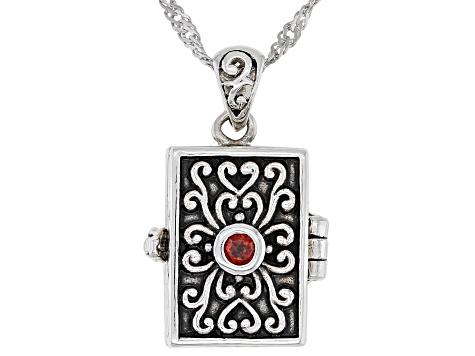 Red garnet sterling silver prayer box pendant with chain 243ctw red garnet sterling silver prayer box pendant with chain 243ctw aloadofball Gallery