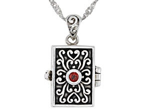 Red Garnet Sterling Silver Prayer Box Pendant With Chain 2.43ctw.