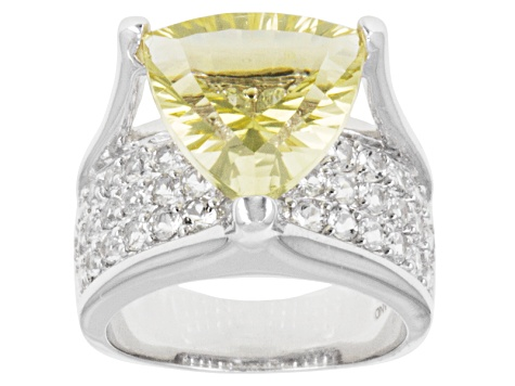 Yellow Brazilian Quartz Rhodium Over Sterling Silver Ring 6.89ctw.