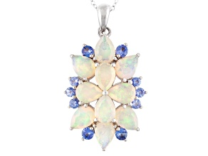 Multi Color Ethiopian Opal And Tanzanite Sterling Silver Pendant With Chain 4.31ctw.