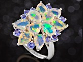Multi Color Ethiopian Opal Sterling Silver Ring 4.31ctw.