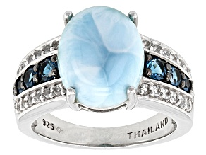 Blue Larimar Sterling Silver Ring .62ctw.