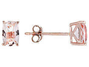 Pink Morganite 10k Rose Gold Stud Earrings  .90ctw