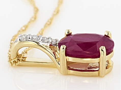 Red Burmese Ruby 14k Yellow Gold Pendant With Chain .77ctw