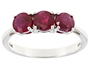 Red Burmese Ruby 14k White Gold Ring 1.50ctw