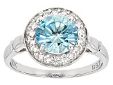Blue Zircon 10k White Gold Ring 2.17ctw
