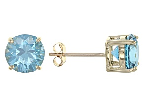 Blue Zircon 10k Yellow Gold Stud Earrings 3.71ctw