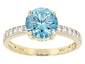 Blue Zircon 10k Yellow Gold Ring 2.38ctw