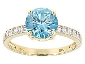 Blue Zircon 10k Yellow Gold Ring 2.38ctw