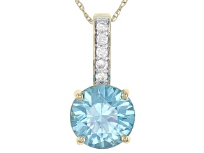 Blue Zircon 10k Yellow Gold Pendant With Chain 2.31ctw