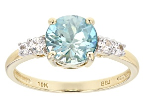 Blue Zircon 10k Yellow Gold Ring 2.11ctw