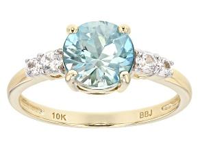 Blue Zircon 10k Yellow Gold Ring 2.11ctw