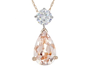 Pink Morganite 10k Rose Gold Pendant With Chain 2.16ctw
