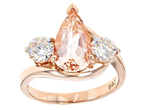 Pink Morganite 10k Rose Gold Ring 3.06ctw