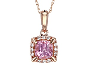 Pink Burmese Spinel 10k Rose Gold Pendant With Chain .77ctw