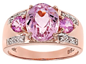 Pink Kunzite 10k Rose Gold Ring 3.04ctw