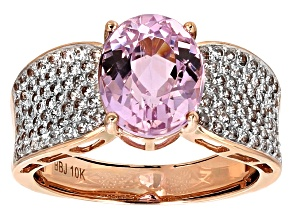 Pink Kunzanite 10k Rose Gold Ring 3.14ctw