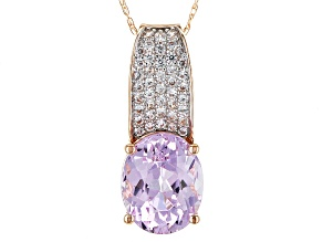 Pink Kunzite 10k Rose Gold Pendant With Chain 3.50ctw