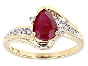 Red Burmese Ruby 14k Yellow Gold Ring 1.23ctw