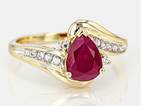 Red Burmese Ruby 14k Yellow Gold Ring 1.23ctw