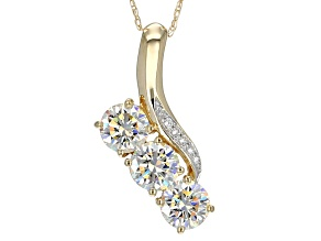 White Fabulite Strontium Titanate With White Zircon 10k Yellow Gold Pendant With Chain 2.07ctw.