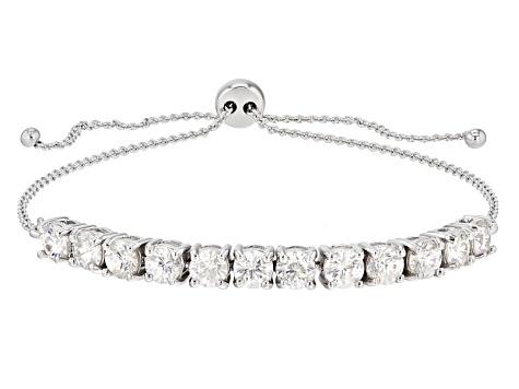 White Strontium Titanate10k White Gold Bolo Bracelet 4 28ctw