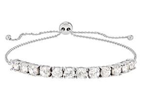 White Strontium Titanate10k White Gold Bolo Bracelet 4.28ctw