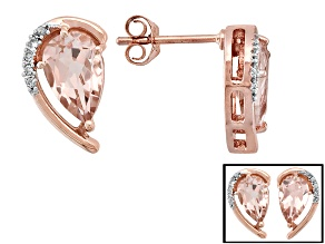 1.76ctw Pear Shape Cor-De-Rosa Morganite ™ With .03ctw Round White Diamond 10k Rose Gold Earrings