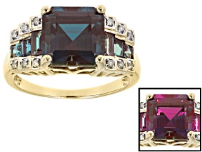 4.50ct Asscher Cut & .80ctw Baguette Lab Created Alexandrite With .06ctw Round Diamond 10k Gold Ring