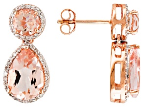 Morganite And Diamond 14kt Rose Gold Earrings