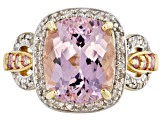 Pink kunzite 10k yellow gold ring 4.14ctw.