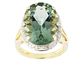 Green Prasiolite 14k Yellow Gold Ring 9.34ctw