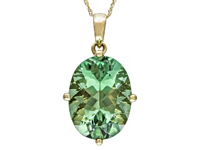 Green Prasiolite 14k Yellow Gold Pendant With Chain 6.80ct