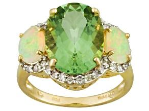 Green Prasiolite 14k Yellow Gold Ring 5.31ctw