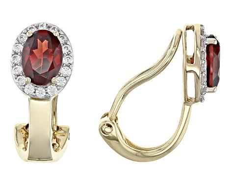 Red Garnet 14k Yellow Gold Clip On Earrings 1 87ctw