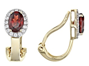 Red Garnet 14k Yellow Gold Clip On Earrings 1.87ctw