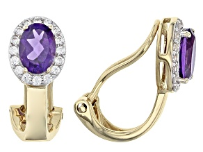 African Amethyst 14k Yellow Gold Clip On Earrings 1.52ctw