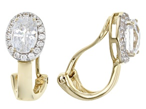 White Zircon 14k Yellow Gold Clip On Earrings 2.39ctw