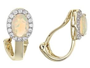 Ethiopian Opal 14k Yellow Gold Clip On Earrings 1.01ctw