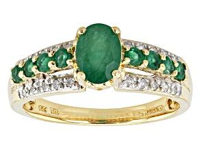 Green Emerald 14k Yellow Gold Ring .99ctw