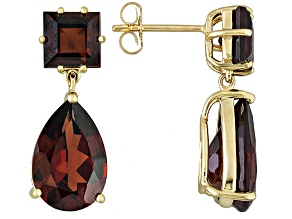 Red Garnet 14k Yellow Gold Earrings 8.45ctw