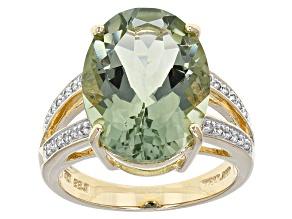 Green Prasiolite 14k Yellow Gold Ring 7.58ctw