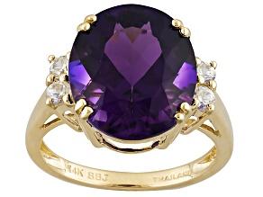 Purple Uruguayan Amethyst 14k Yellow Gold Ring 6.39ctw